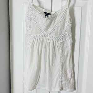 AEO detailed Lace White Fancy Tank Top